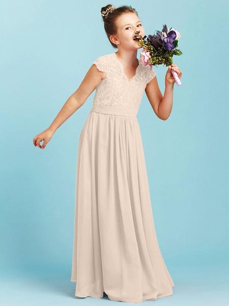 Princess / A-Line V Neck Floor Length Chiffon / Lace Junior Bridesmaid Dress With Sash / Ribbon / Pleats / Wedding Party_14