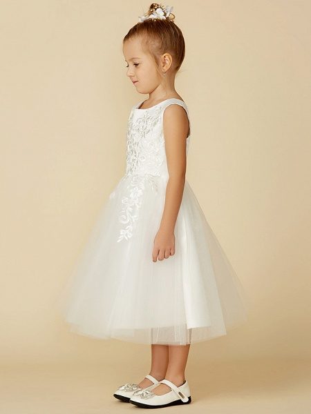 A-Line Tea Length Wedding / First Communion Flower Girl Dresses - Lace / Tulle Sleeveless Jewel Neck With Lace_3