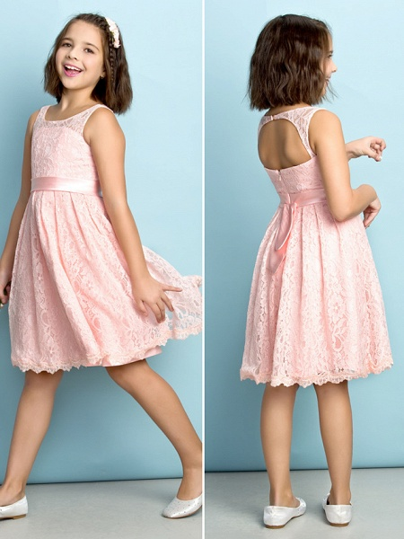 A-Line Scoop Neck Knee Length All Over Floral Lace Junior Bridesmaid Dress With Lace / Natural / Mini Me_2