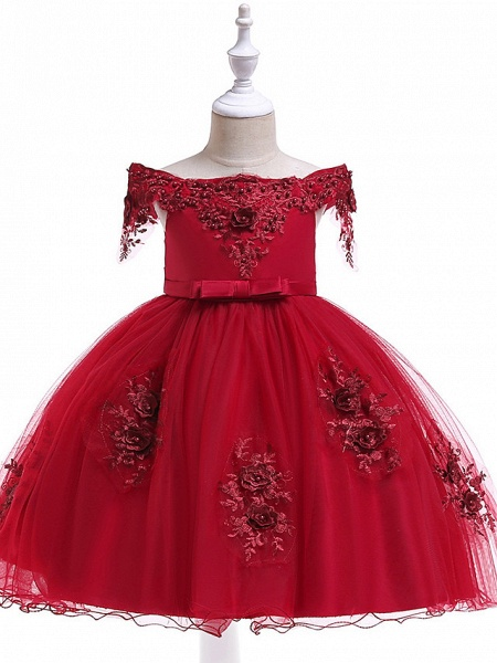 Princess Above Knee Wedding / Party / Pageant Flower Girl Dresses - Satin / Tulle Short Sleeve Off Shoulder With Lace / Beading / Appliques_7