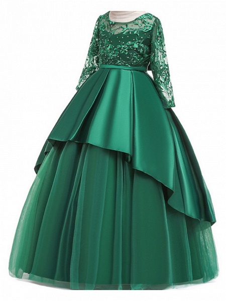 Ball Gown Floor Length Pageant Flower Girl Dresses - Polyester Long Sleeve Jewel Neck With Ruffles / Tier / Appliques_3