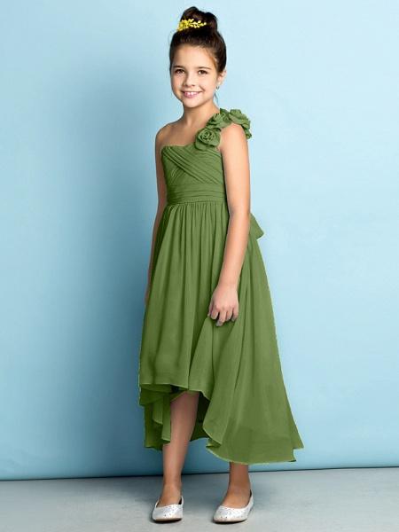 A-Line One Shoulder Asymmetrical Chiffon Junior Bridesmaid Dress With Criss Cross / Flower / Natural / Mini Me_43