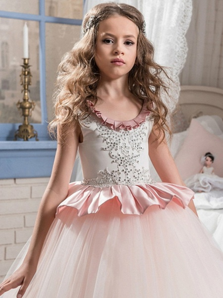 Ball Gown Court Train / Sweep / Brush Train Party / Birthday Flower Girl Dresses - Poly Sleeveless Jewel Neck With Lace / Ruffles / Tier_2
