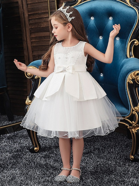 A-Line Knee Length Wedding / Party Communion Dresses - Tulle / Matte Satin / Poly&Cotton Blend Sleeveless Jewel Neck With Lace / Bow(S) / Beading_3