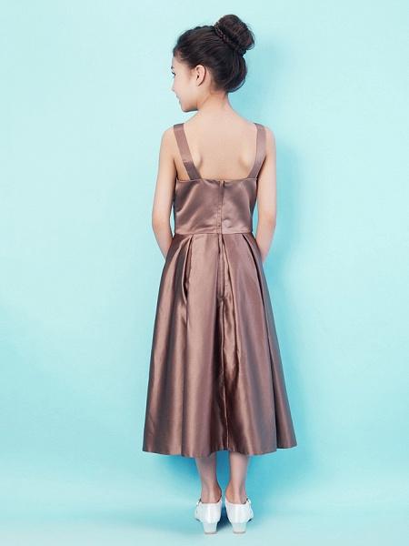 Princess / A-Line Straps / Sweetheart Neckline Tea Length Satin Junior Bridesmaid Dress With Criss Cross / Draping / Spring / Summer / Fall / Apple / Hourglass_4
