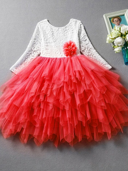 Princess / Ball Gown Floor Length Wedding / Party Flower Girl Dresses - Lace / Tulle Long Sleeve Jewel Neck With Bow(S)_4