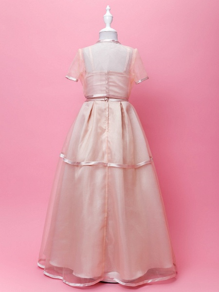 Princess / A-Line Floor Length Wedding Party Organza / Stretch Satin Sleeveless Spaghetti Strap With Sash / Ribbon / Bow(S) / Buttons / Spring / Fall / Winter_3