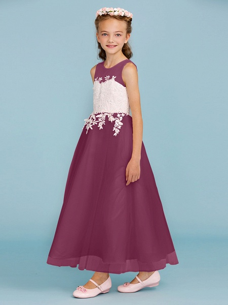 Princess / A-Line Jewel Neck Ankle Length Lace / Tulle Junior Bridesmaid Dress With Sash / Ribbon / Appliques / Wedding Party / Open Back_11