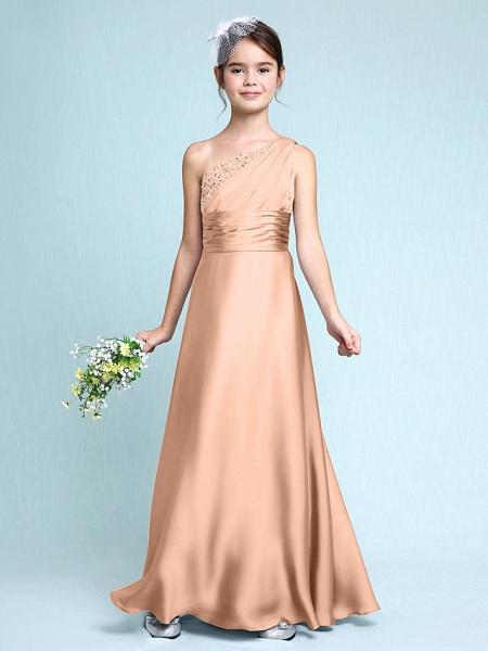 Sheath / Column One Shoulder Floor Length Chiffon Satin Junior Bridesmaid Dress With Ruched / Side Draping / Natural_13
