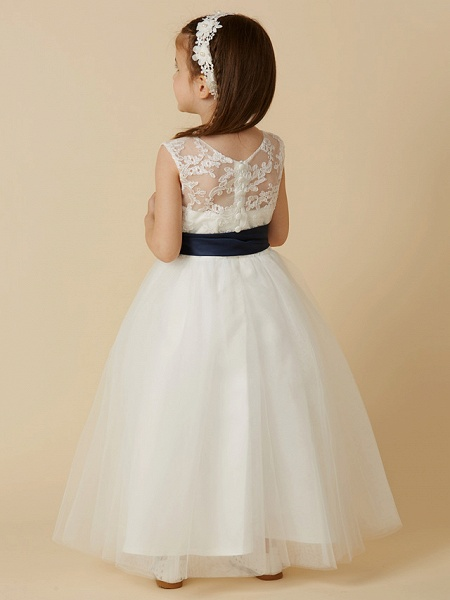 A-Line Ankle Length Wedding / First Communion Flower Girl Dresses - Lace / Tulle Sleeveless Jewel Neck With Sash / Ribbon / Bow(S) / Buttons_2