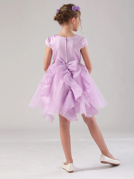 Princess / Ball Gown Medium Length Wedding / Event / Party Flower Girl Dresses - Satin / Tulle Cap Sleeve Jewel Neck With Embroidery / Appliques / Side Draping_2