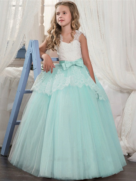 Ball Gown Floor Length Wedding / Party Flower Girl Dresses - Tulle Sleeveless Jewel Neck With Pleats / Tiered_5