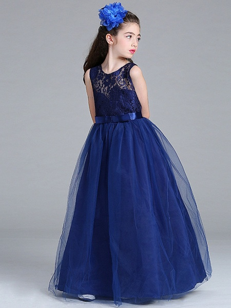 Princess / A-Line Round Floor Length Lace / Tulle Junior Bridesmaid Dress With Bow(S)_3
