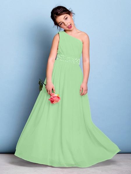 A-Line One Shoulder Floor Length Chiffon Junior Bridesmaid Dress With Sash / Ribbon / Beading / Side Draping / Natural_29