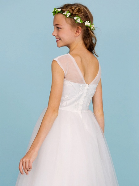 Ball Gown Crew Neck Asymmetrical Tulle Junior Bridesmaid Dress With Beading / Wedding Party / Open Back_7