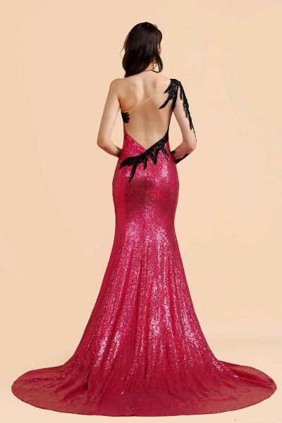 Mermaid Sequins One Sleeve Side Split Prom Dress_2