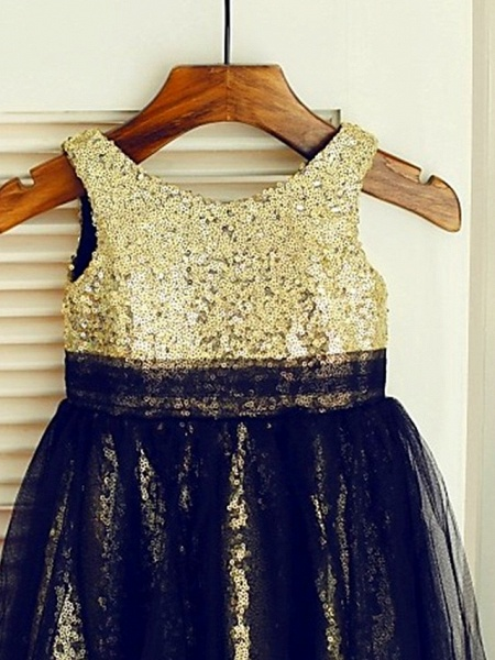 Ball Gown Knee Length Wedding / Party Flower Girl Dresses - Lace / Sequined Sleeveless Jewel Neck With Color Block / Paillette_3