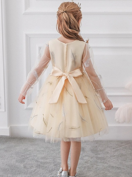 Princess / Ball Gown Knee Length Wedding / Party Flower Girl Dresses - Tulle Long Sleeve Jewel Neck With Sash / Ribbon / Bow(S) / Pattern / Print_5