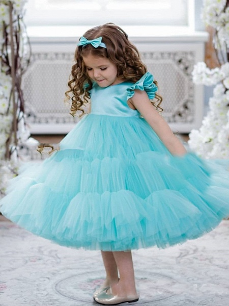 Princess / A-Line Floor Length Party / Birthday Flower Girl Dresses - Satin / Tulle Short Sleeve Jewel Neck With Cascading Ruffles / Splicing_2