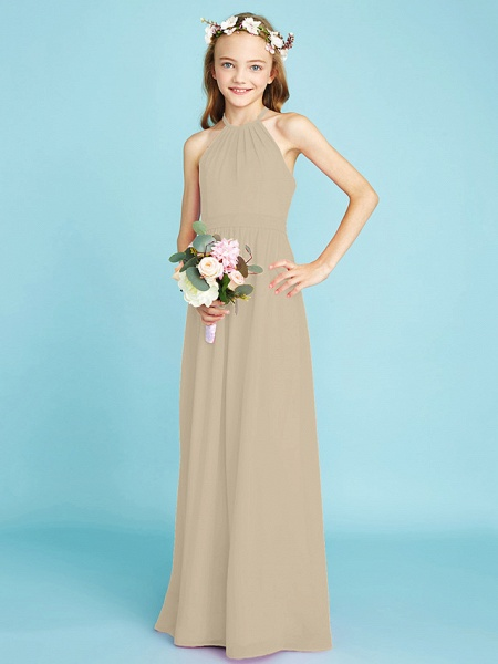 A-Line Halter Neck Floor Length Chiffon Junior Bridesmaid Dress With Sash / Ribbon / Natural_22