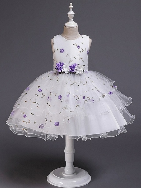 Princess / Ball Gown Knee Length Wedding / Party Flower Girl Dresses - Satin / Tulle Sleeveless Jewel Neck With Bow(S) / Flower_8
