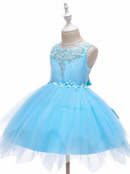 Princess / Ball Gown Short / Mini Wedding / Party Flower Girl Dresses - Tulle Sleeveless Jewel Neck With Sash / Ribbon / Appliques_3