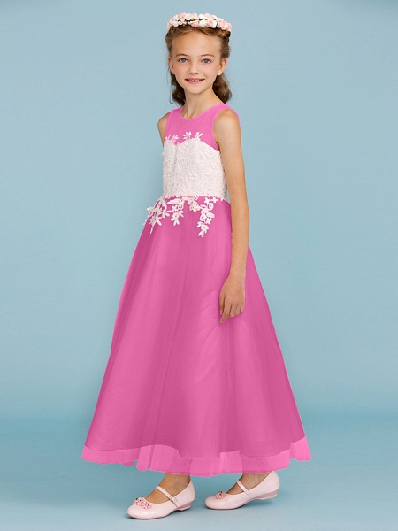 Princess / A-Line Jewel Neck Ankle Length Lace / Tulle Junior Bridesmaid Dress With Sash / Ribbon / Appliques / Wedding Party / Open Back_27