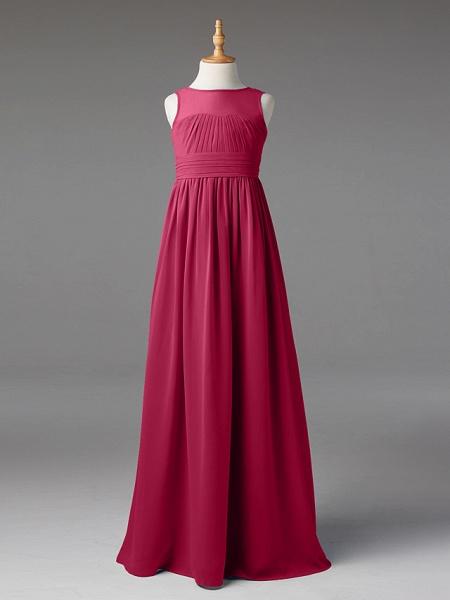 Princess / A-Line Jewel Neck Floor Length Chiffon Junior Bridesmaid Dress With Sash / Ribbon / Pleats_24