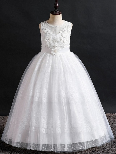 Princess / Ball Gown Floor Length Wedding / Party Flower Girl Dresses - Lace / Tulle Sleeveless Jewel Neck With Bow(S) / Appliques_6