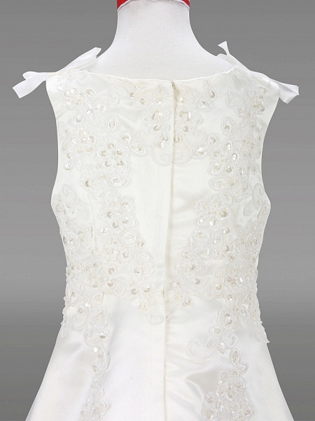 A-Line Court Train / Sweep / Brush Train Wedding / First Communion Flower Girl Dresses - Satin Sleeveless Jewel Neck With Beading / Spring / Summer / Fall / Winter_5