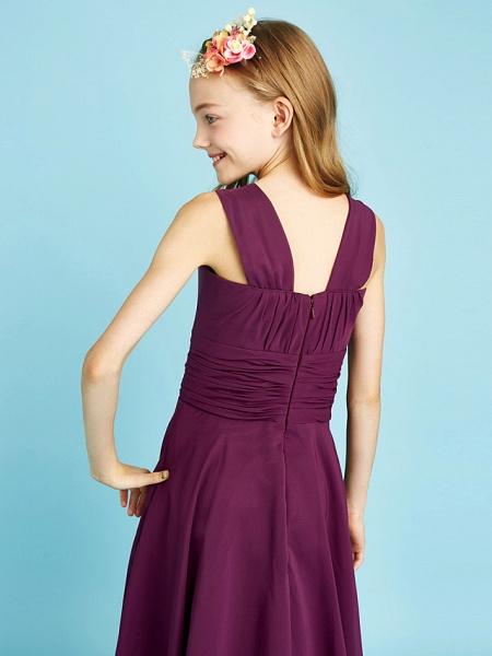 A-Line Straps Knee Length Chiffon Junior Bridesmaid Dress With Sash / Ribbon / Ruched / Draping / Natural_8