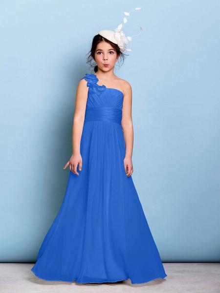 A-Line One Shoulder Floor Length Chiffon Junior Bridesmaid Dress With Sash / Ribbon / Criss Cross / Ruched / Natural_32