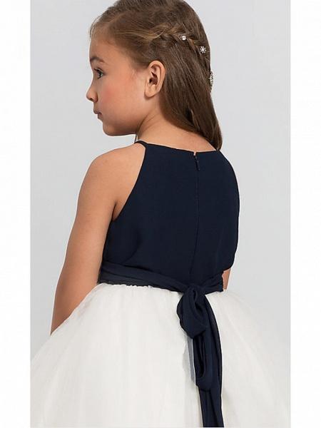 A-Line Floor Length Wedding / Party Flower Girl Dresses - Satin / Taffeta / Tulle Sleeveless Jewel Neck With Bow(S) / Tier_4
