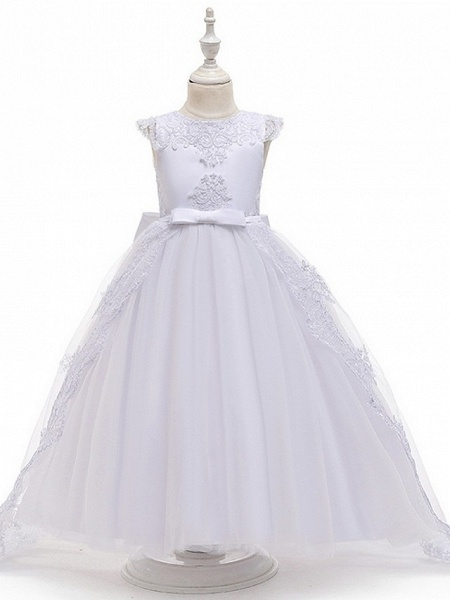 Princess / Ball Gown Sweep / Brush Train Wedding / Party Flower Girl Dresses - Satin / Tulle Sleeveless Jewel Neck With Sash / Ribbon / Bow(S) / Appliques_6