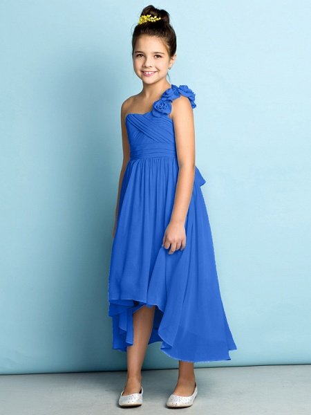 A-Line One Shoulder Asymmetrical Chiffon Junior Bridesmaid Dress With Criss Cross / Flower / Natural / Mini Me_36