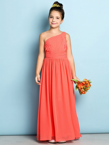 A-Line One Shoulder Ankle Length Chiffon Junior Bridesmaid Dress With Side Draping / Natural / Mini Me_2