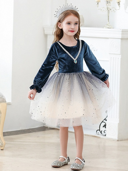 Princess / Ball Gown Knee Length Wedding / Party Flower Girl Dresses - Tulle / Velvet Long Sleeve Jewel Neck With Crystals / Paillette_3