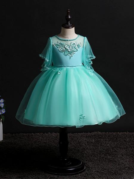 Princess Midi Wedding / Birthday Satin / Tulle Sleeveless Jewel Neck With Bow(S) / Pearls / Beading_3