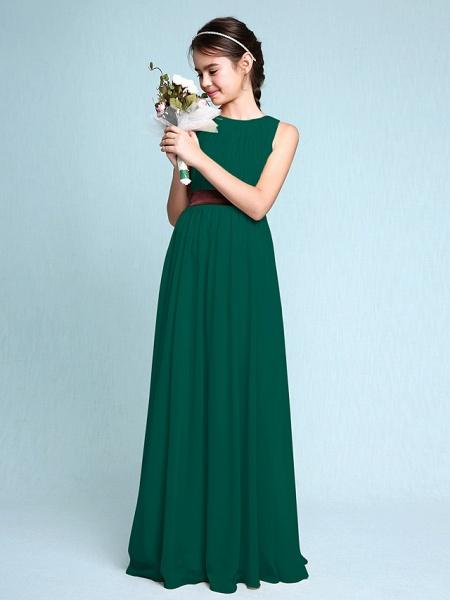 Sheath / Column Scoop Neck Floor Length Chiffon Junior Bridesmaid Dress With Draping / Natural_27