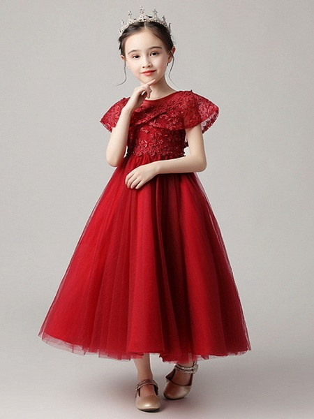 Princess Ankle Length Party / Pageant Flower Girl Dresses - Polyester Short Sleeve Jewel Neck With Lace_7