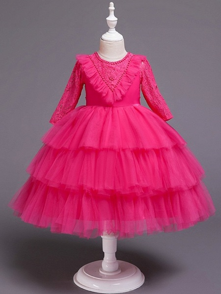 Princess / Ball Gown Knee Length Wedding / Party Flower Girl Dresses - Tulle 3/4 Length Sleeve Jewel Neck With Bow(S) / Beading / Cascading Ruffles_9