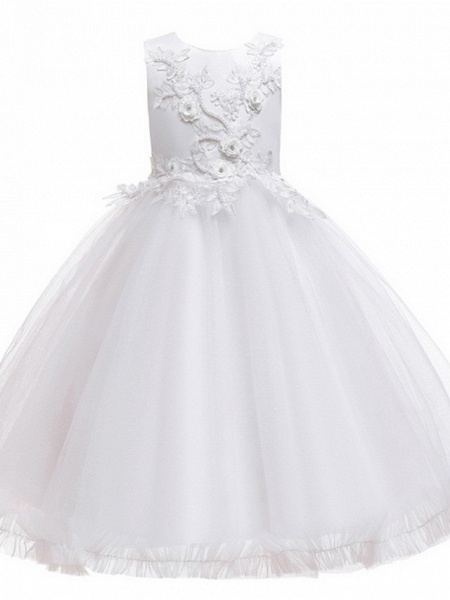 Princess / Ball Gown Knee Length Wedding / Party Flower Girl Dresses - Tulle Sleeveless Jewel Neck With Bow(S) / Beading / Appliques_8