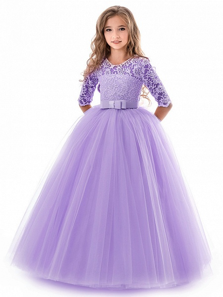 Princess Long Length Wedding / Party / Pageant Flower Girl Dresses - Lace / Tulle Half Sleeve Jewel Neck With Lace / Belt_16