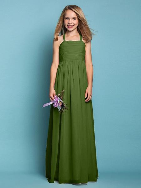 Sheath / Column Halter Neck Floor Length Chiffon Junior Bridesmaid Dress With Ruched / Spring / Summer / Fall / Apple / Hourglass_40