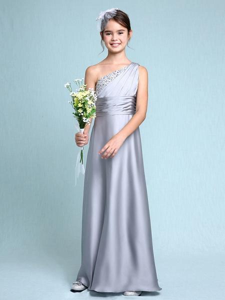 Sheath / Column One Shoulder Floor Length Chiffon Satin Junior Bridesmaid Dress With Ruched / Side Draping / Natural_6