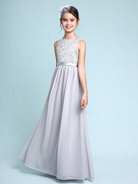 Sheath / Column Bateau Neck Floor Length Chiffon / Lace Junior Bridesmaid Dress With Lace / Natural_1