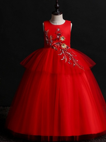 Princess / Ball Gown Floor Length Wedding / Party Flower Girl Dresses - Satin / Tulle Sleeveless Jewel Neck With Bow(S) / Appliques_2