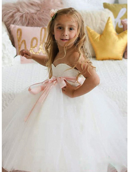 A-Line Knee Length Wedding / Party Flower Girl Dresses - Lace / Tulle Sleeveless Jewel Neck With Sash / Ribbon / Tier_2