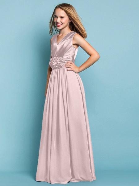 Sheath / Column V Neck Floor Length Chiffon Junior Bridesmaid Dress With Flower / Spring / Summer / Fall / Apple / Hourglass_19