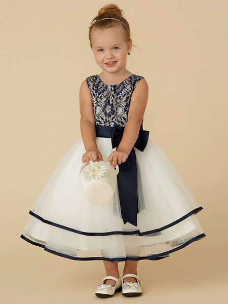 A-Line Tea Length Pageant Flower Girl Dresses - Lace / Tulle Sleeveless Scoop Neck With Sash / Ribbon / Bow(S)_5